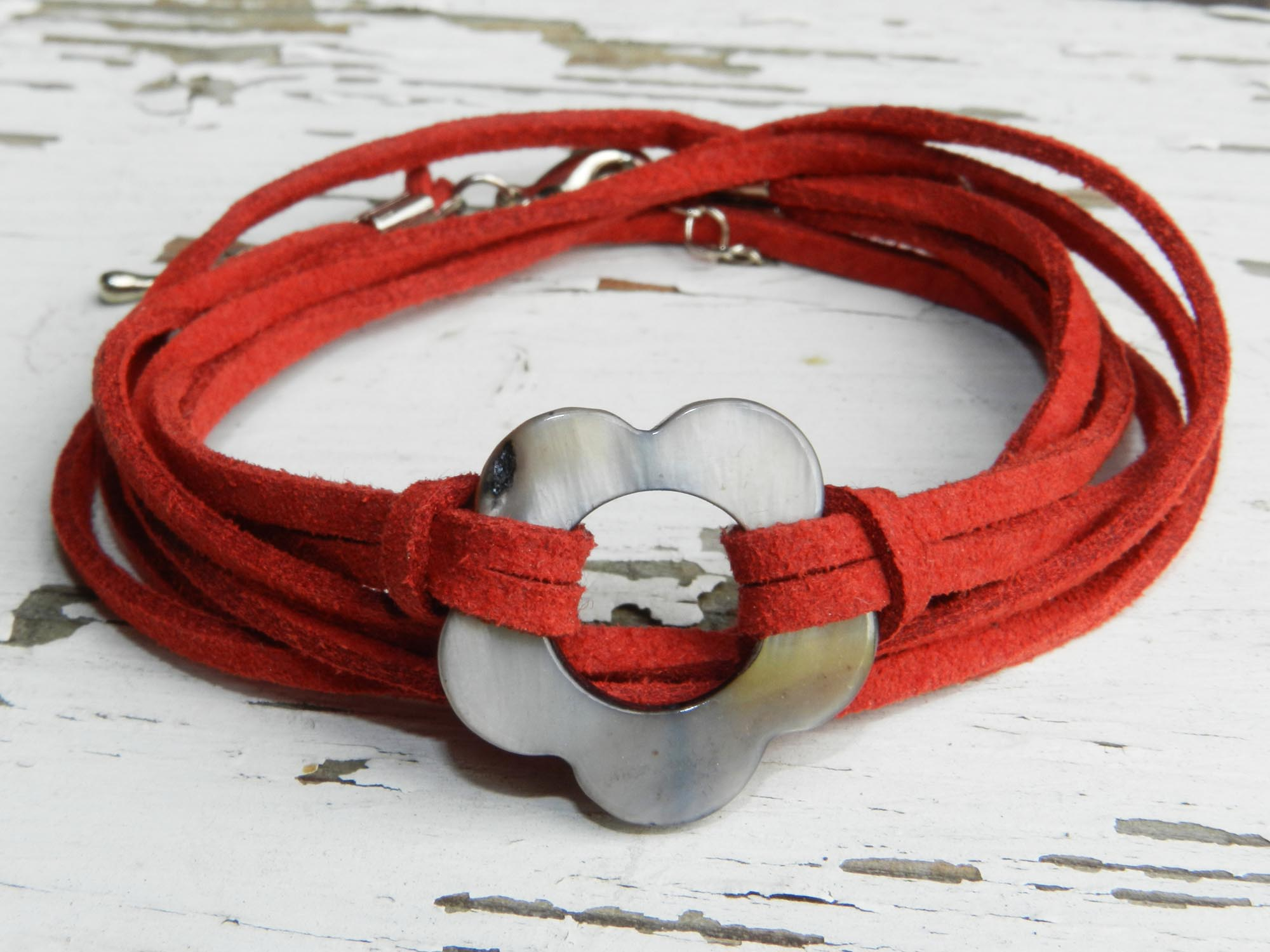 Red Shell Flower WrapBracelet